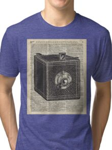 Antique Cube Camera Over Old Encyclopedia Page Tri-blend T-Shirt