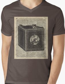 Antique Cube Camera Over Old Encyclopedia Page Mens V-Neck T-Shirt