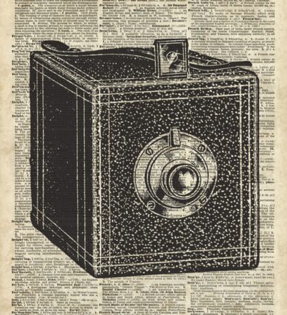 Antique Cube Camera Over Old Encyclopedia Page Sticker