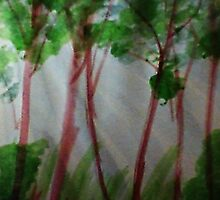 Last rays of light thru the trees, watercolor by Anna  Lewis