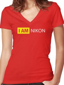 I AM NIKON Women's Fitted V-Neck T-Shirt