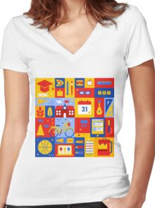 Colorful Education Concept Women's Fitted V-Neck T-Shirt