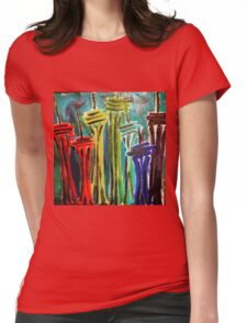 Rainbow Seattle Space Needles Womens Fitted T-Shirt