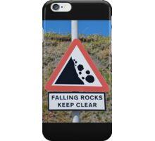 Falling rocks sign, Folkestone iPhone Case/Skin