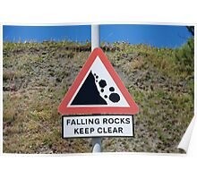Falling rocks sign, Folkestone Poster