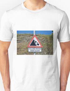 Falling rocks sign, Folkestone Unisex T-Shirt