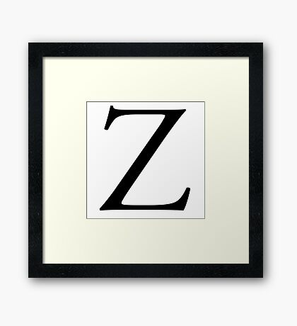 Z, Zee, Zed, Alphabet Letter, Zulu, Zero, Zoro, A to Z, 26th Letter of Alphabet, Initial, Name, Letters, Tag, Nick Name Framed Print
