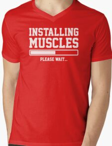 INSTALLING MUSCLES FUNNY PRINTED MENS TSHIRT GYM LIFT BRO WORKOUT NOVELTY SLOGAN Mens V-Neck T-Shirt