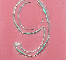 9, NUMBER 9, NINE, FADED, NINTH, turquoise, pink,  by TOM HILL - Designer