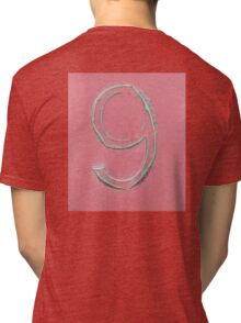 9, NUMBER 9, NINE, FADED, CURLED, NINTH, Turquoise, Dusky, Pink,  Tri-blend T-Shirt