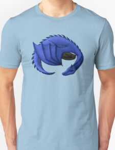 Blue Dragon Curled Around Sleeping Cat T-Shirt