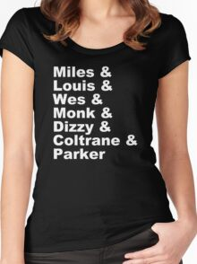 JAZZ NAME T-SHIRT DIZZY MILES DAVIS SOUL FUNK MONK COOL Women's Fitted Scoop T-Shirt