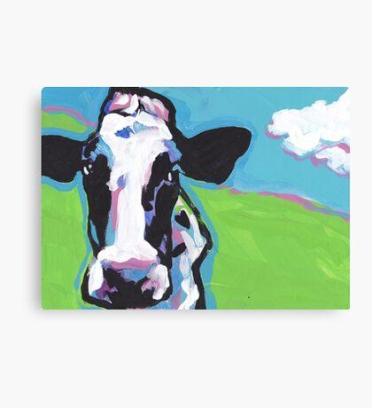 COW COW Bright colorful pop dog art Canvas Print