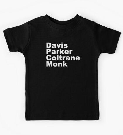 JAZZ PLAYERS NAMES T SHIRT MILES DAVIS MONK VINYL PARKER Kids Tee