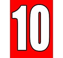 Football, Soccer, 10, Ten, Tenth, Number Ten, Team, Number, Red, Devils Photographic Print