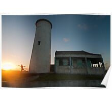 Sunset at lighthouse Poster