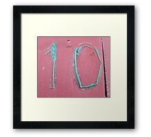 10, NUMBER 10, Ten, Tenth, turquoise, pink, Framed Print