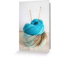 Wool and Knitting Needles Greeting Card