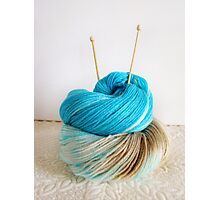 Wool and Knitting Needles Photographic Print