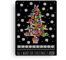 all I want for christmas is FOOD - ugly christmas sweater - christmas tree Canvas Print