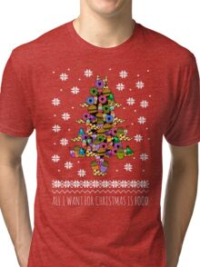 all I want for christmas is FOOD - ugly christmas sweater - christmas tree Tri-blend T-Shirt