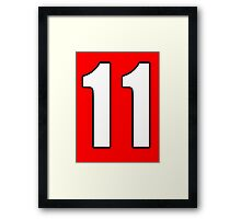 Football, Soccer, 11, Eleven, Number Eleven, Eleventh, Team, Number, Red, Devils Framed Print