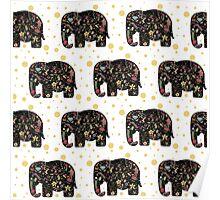 Floral Elephants Poster