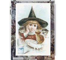 Vintage Halloween Girl Witch Hat Cat iPad Case/Skin