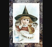 Vintage Halloween Girl Witch Hat Cat Unisex T-Shirt