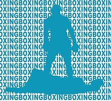 Muhammad Ali vs Sonny Liston Iconic Silhouette Pose Blue  by yin888