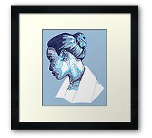 Cameo Portrait of Woman in Blue Framed Print