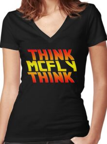 Think, McFly, Think  Women's Fitted V-Neck T-Shirt