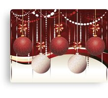 Red and White Xmas Balls 2 Canvas Print