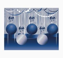 Blue and White Xmas Balls 2 One Piece - Short Sleeve