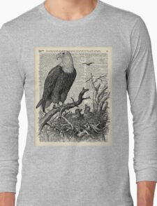 Eagle and its nest over encyclopedia page Long Sleeve T-Shirt
