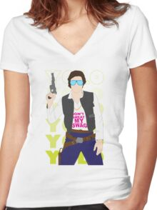 Han YOLO Women's Fitted V-Neck T-Shirt