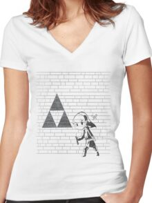 Banksy Triforce Women's Fitted V-Neck T-Shirt