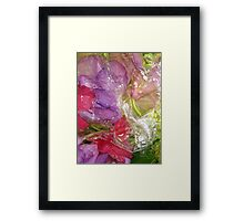 red and purple flowers, wet Framed Print