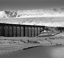 Ribblehead in White - Whernside & Viaduct in the snow by Simon Lupton