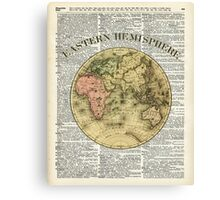 Eastern Hemisphere Earth map over dictionary page Canvas Print