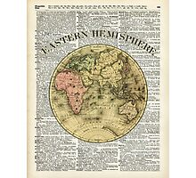 Eastern Hemisphere Earth map over dictionary page Photographic Print