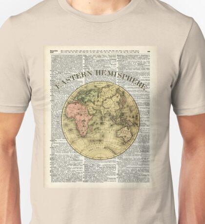 Eastern Hemisphere Earth Vintage  Map Dictionary Art Unisex T-Shirt