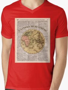 Eastern Hemisphere Earth Vintage  Map Dictionary Art Mens V-Neck T-Shirt