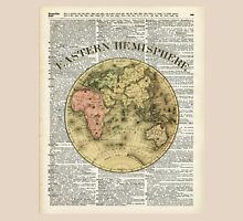 Eastern Hemisphere Earth map over dictionary page Unisex T-Shirt