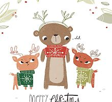 Bear and deer Christmas card by SillyHilli