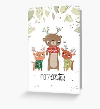 Bear and deer Christmas card Greeting Card