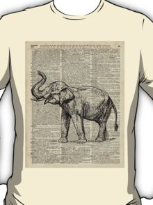 Vintage Illustration Of Happy Elephant over Old Dictionary Book Page  T-Shirt