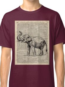 Vintage Illustration Of Happy Elephant over Old Dictionary Book Page  Classic T-Shirt
