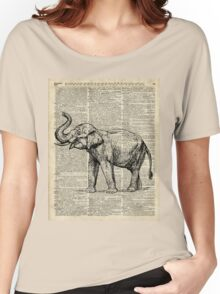 Vintage Illustration Of Happy Elephant over Old Dictionary Book Page  Women's Relaxed Fit T-Shirt