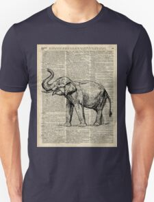 Vintage Illustration Of Happy Elephant over Old Dictionary Book Page  Unisex T-Shirt